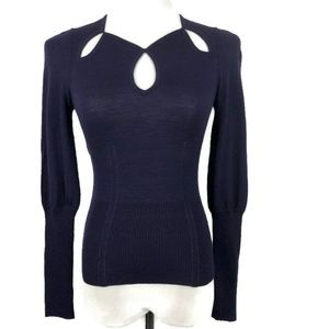 DVF Purple Cut-Out Keyhole Merino Sweater XS